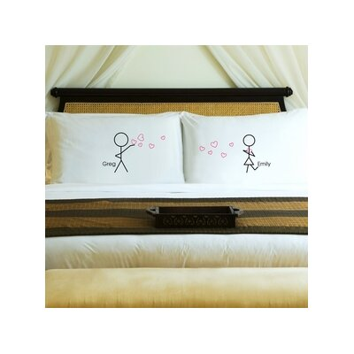 Stick Figures Couples Pillow Case