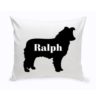 Personalized Border Collie Silhouette Throw Pillow