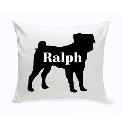 Personalized Pug Silhouette Throw Pillow
