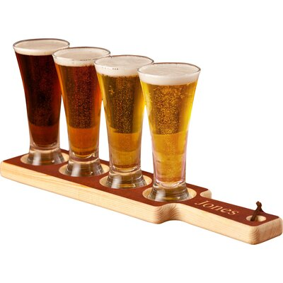 Personalized Gift 5 Piece Beer Flight Paddle and Glasses Set