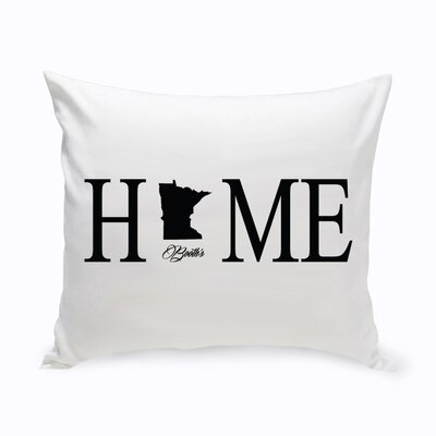 Personalized Home State Cotton Throw Pillow Color: Black
