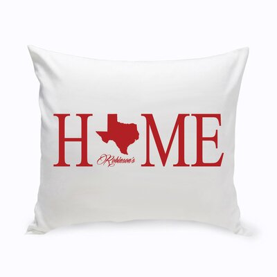 Personalized Home State Cotton Throw Pillow Color: Red
