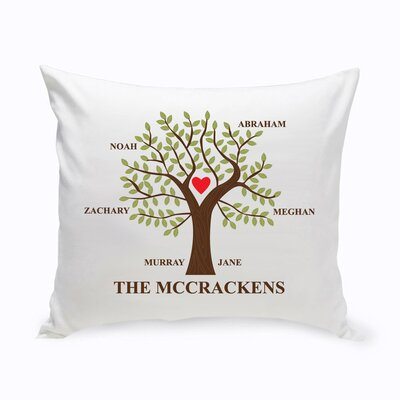 Personalized Traditional Family Tree Cotton Throw Pillow