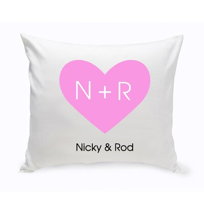 Personalized Unity Carved Heart Cotton Throw Pillow Color: Peach