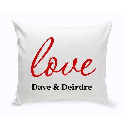 Personalized Unity Amore Cotton Throw Pillow Color: Red
