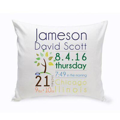 Personalized Baby Boy Announcement Cotton Throw Pillow