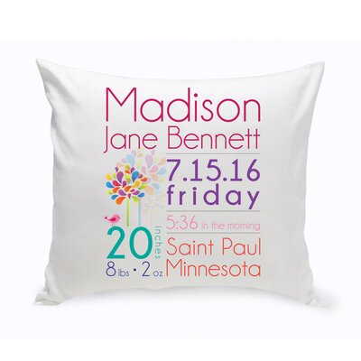Personalized Baby Girl Announcement Cotton Throw Pillow