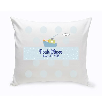 Personalized Baby Nursery Boat Cotton Throw Pillow