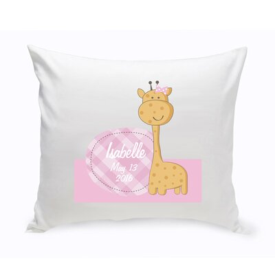 Personalized Nursery Baby Girl Giraffe Cotton Throw Pillow