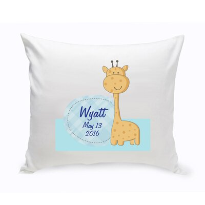 Personalized Nursery Baby Giraffe Cotton Throw Pillow