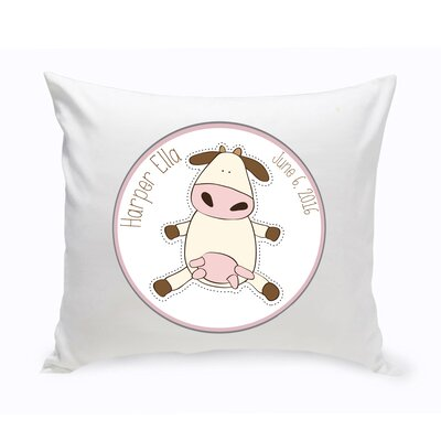 Personalized Baby Nursery Cow Cotton Throw Pillow