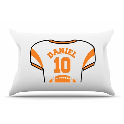 Personalized Kids Jersey Cotton Pillow Cover Color: Orange