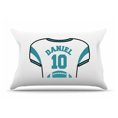 Personalized Kids Jersey Cotton Pillow Cover Color: Teal