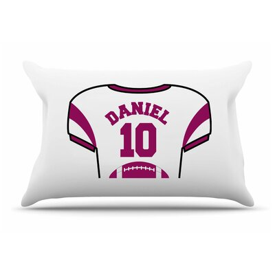 Personalized Kids Jersey Cotton Pillow Cover Color: Maroon