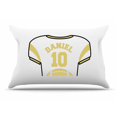 Personalized Kids Jersey Cotton Pillow Cover Color: Gold