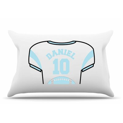 Personalized Kids Jersey Cotton Pillow Cover Color: Sky Blue