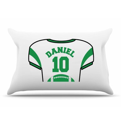 Personalized Kids Jersey Cotton Pillow Cover Color: Green