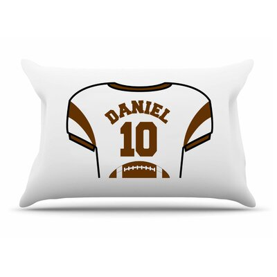 Personalized Kids Jersey Cotton Pillow Cover Color: Brown