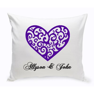 Personalized Unity Vintage Heart Cotton Throw Pillow Color: Light Purple