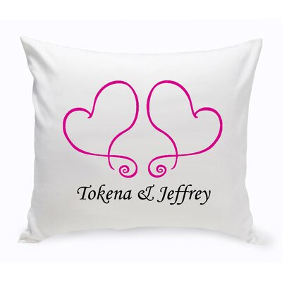 Personalized Unity Two Hearts Cotton Throw Pillow Color: Red