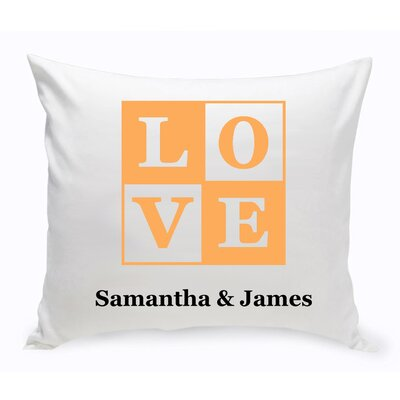 Personalized Unity Love Cotton Throw Pillow Color: Peach