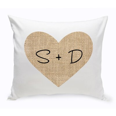 Couple Burlap Heart Throw Pillow