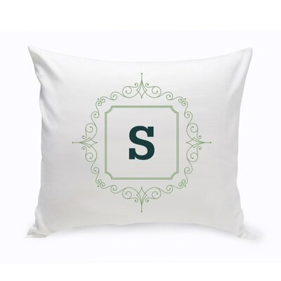 Initial Motif Cotton Throw Pillow Color: Sage Green