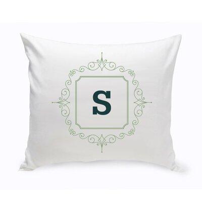 Initial Motif Cotton Throw Pillow Color: Sage Green