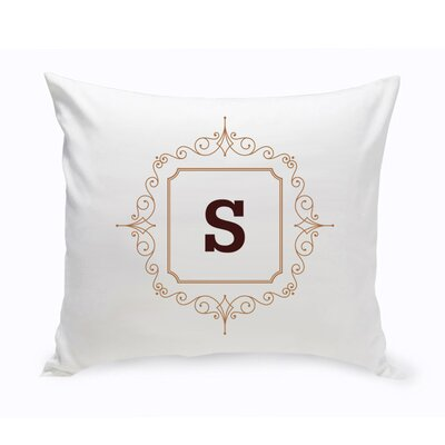 Initial Motif Cotton Throw Pillow Color: Brown