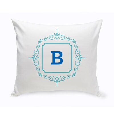Initial Motif Cotton Throw Pillow Color: Blue