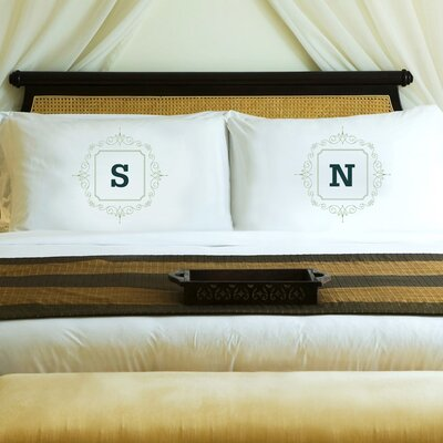 2 Piece Initial Motif Couples Pillowcase Set Color: Sage Green
