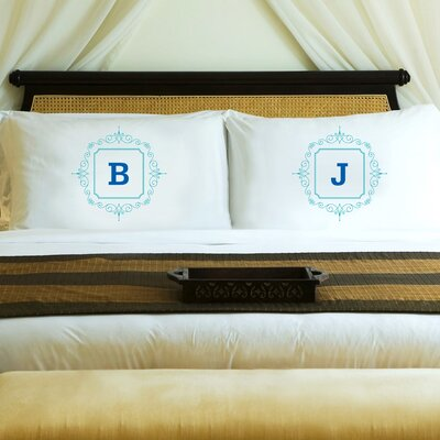 2 Piece Initial Motif Couples Pillowcase Set Color: Blue