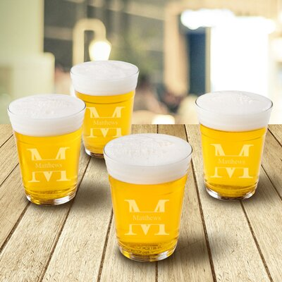 Personalized 16 oz. Glass Beer Glass Design: Stamped +Stamped