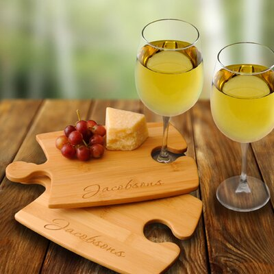 Personalized Gift 4 Piece Bamboo Puzzle Cutting Board and Wine Glasses Set GC1014