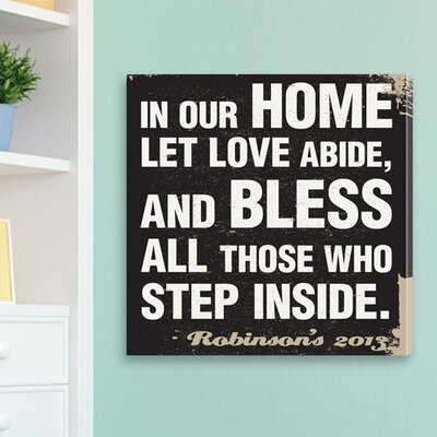Personalized Gift In Our Home - Antique Style Prayer Textual Art on Canvas