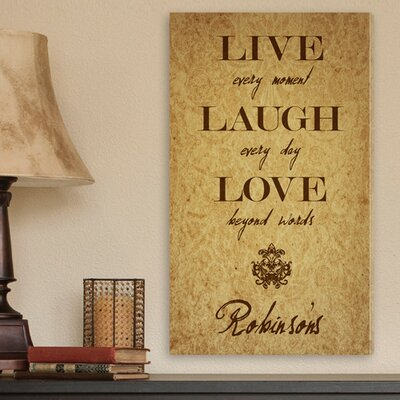Personalized Gift Live Every Moment Textual Art on Canvas