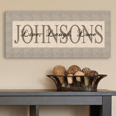 Personalized Gift Live, Laugh, Love Textual Art on Canvas in Grey
