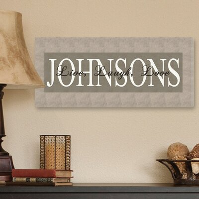 Personalized Gift Live, Laugh, Love Textual Art on Canvas in Bold Grey