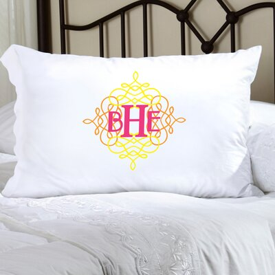 Personalized Gift Felicity Wistful Monogram Pillowcase Color: Yellow / Brown / Pink