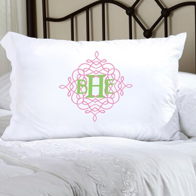 Personalized Gift Felicity Wistful Monogram Pillowcase Color: Pink / Green