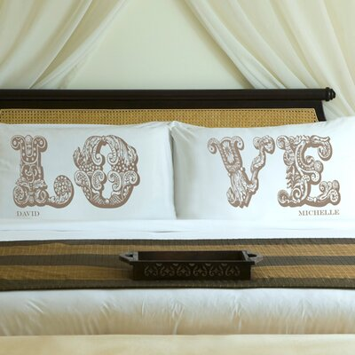 Personalized Gift Couples Love Pillowcase Color: Shimmering Sands