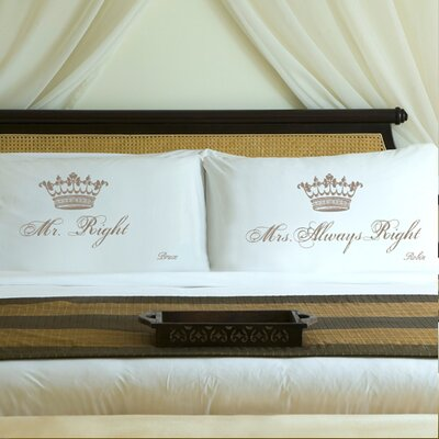 Personalized Gift Couples Royal Pillowcase Color: Shimmering Sands