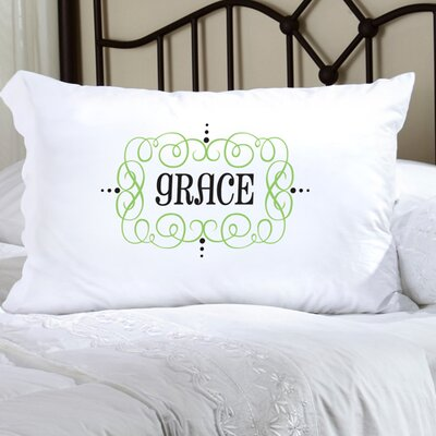 Personalized Gift Felicity Glamour Girl Pillowcase Color: Green/Black