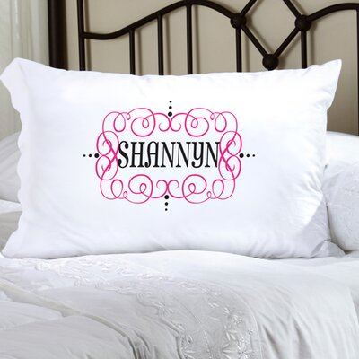 Personalized Gift Felicity Glamour Girl Pillowcase Color: Hot Pink/Black