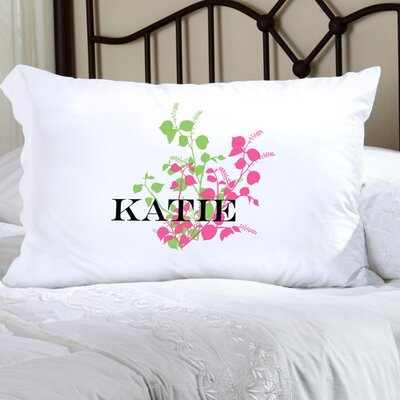 Personalized Gift Felicity Graceful Nature Pillowcase Color: Pink/Green