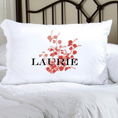 Personalized Gift Felicity Graceful Nature Pillowcase Color: Salmon