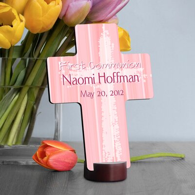 Personalized Gift First Communion Cross Color: Pink