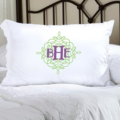 Personalized Gift Felicity Wistful Monogram Pillowcase Color: Green / Purple