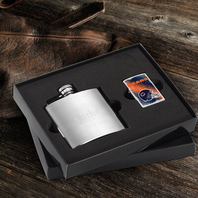 Personalized Gift Lighter and Brushed Flask Gift NFL Team: Chicago Bears