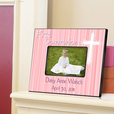 Personalized Gift First Communion Picture Frame Color: Pink